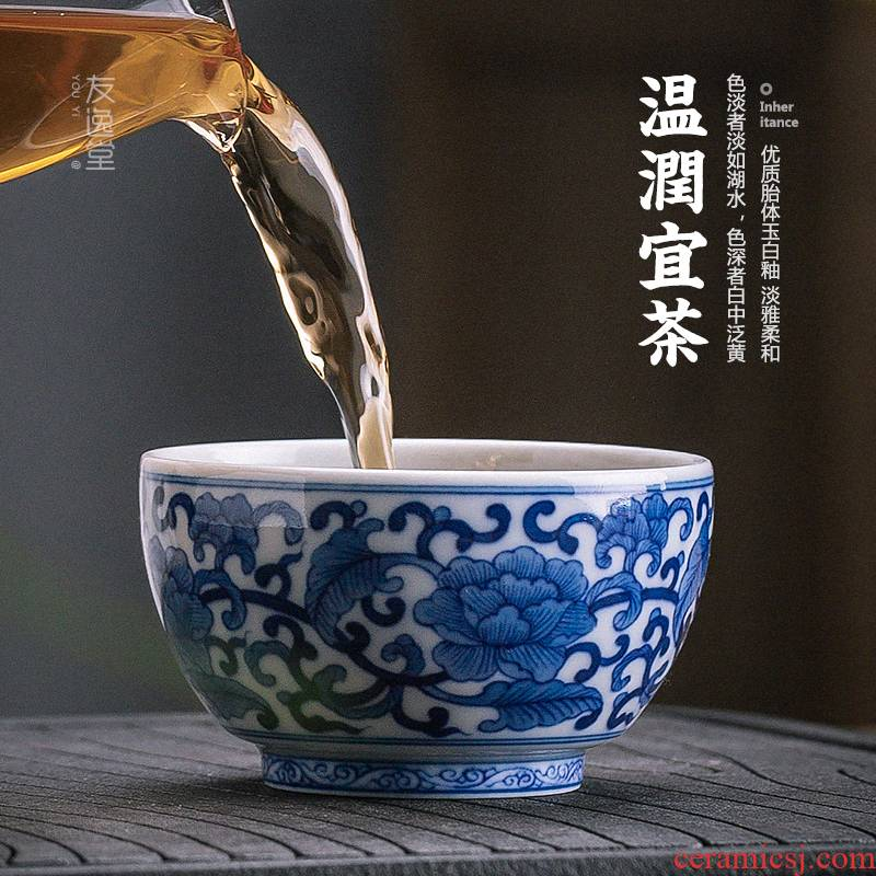 Hand - made bound lotus flower grain blue and white porcelain teacup master cup single cup large ceramic tea cup sample tea cup restoring ancient ways