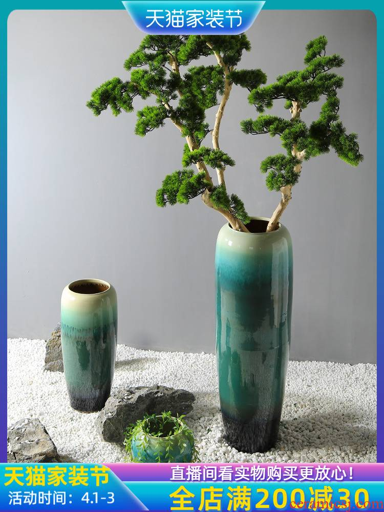Jingdezhen ceramic vase sitting room store cupboard teahouse flower flower implement model of new Chinese style is placed between the sales department