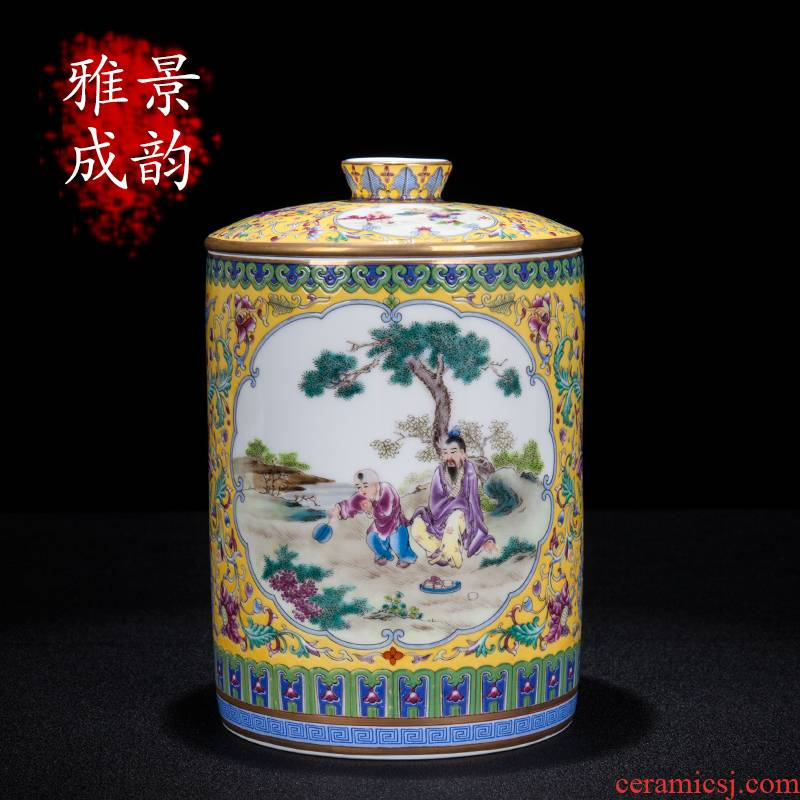 I and contracted jingdezhen ceramics colored enamel caddy fixings home furnishing articles of snacks sitting room tea table storage tank