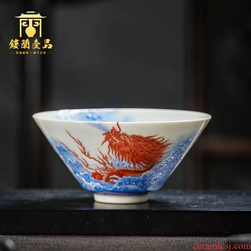 Jingdezhen ceramics from kung fu tea cup bowl hand - made pastel wall sea dragon master single cup sample tea cup