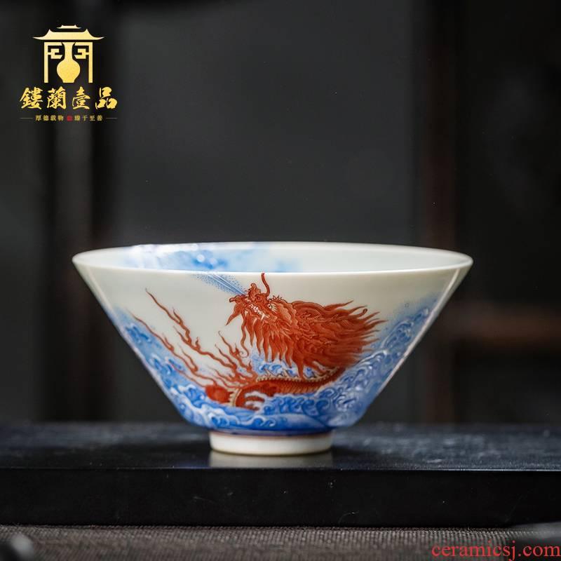 Jingdezhen ceramics from kung fu tea cup bowl hand - made pastel wall sea dragon master single cup sample tea cup