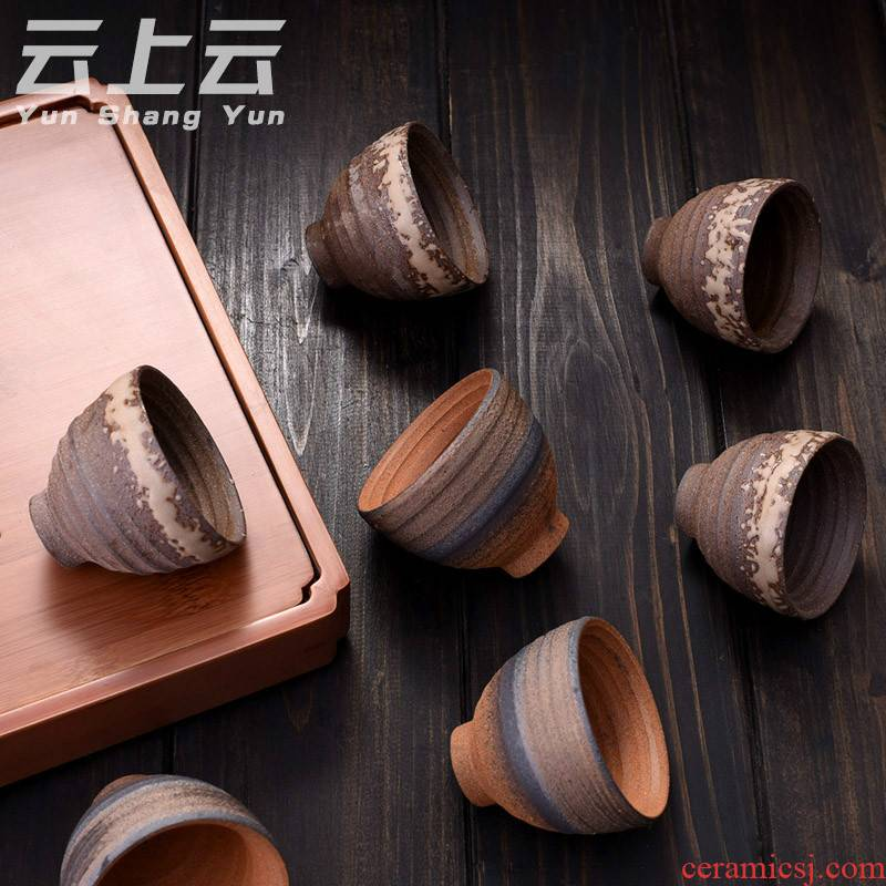 Cloud Cloud retro ceramic cups master cup manual single CPU ceramic cup sample tea cup coarse pottery cup kung fu tea set