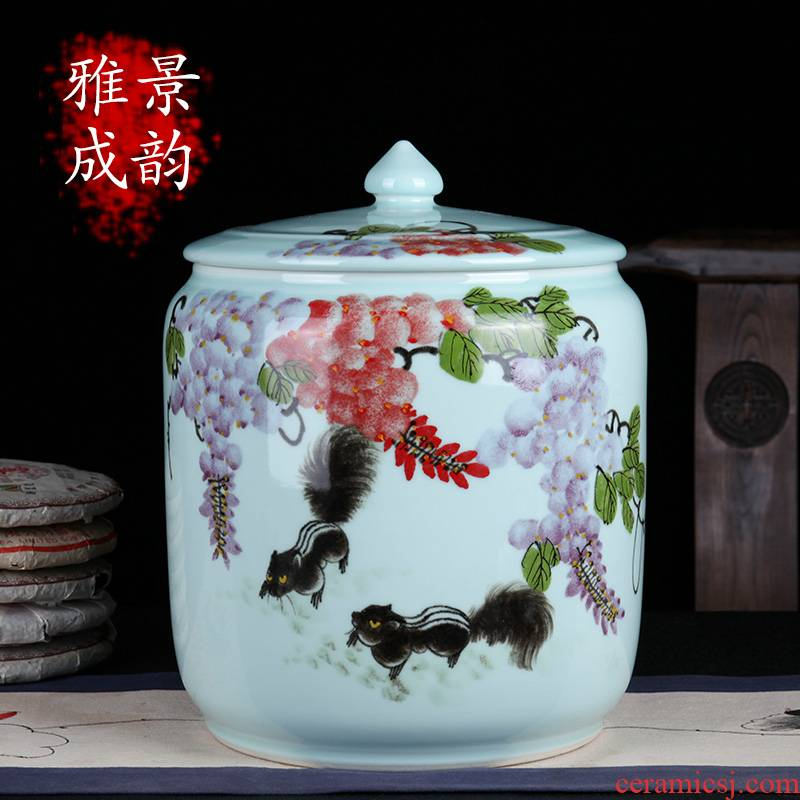 Jingdezhen ceramic hand - made gold rat prosperous wealth of new Chinese style tea as cans of storage tank general porcelain decorative furnishing articles