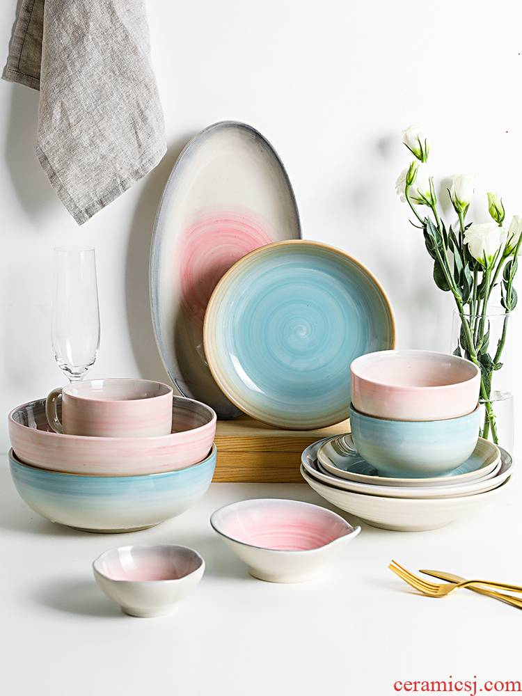 Boss on green screw under glaze color porcelain tableware Japanese 0 jobs the thread home dishes rainbow such use large soup bowl