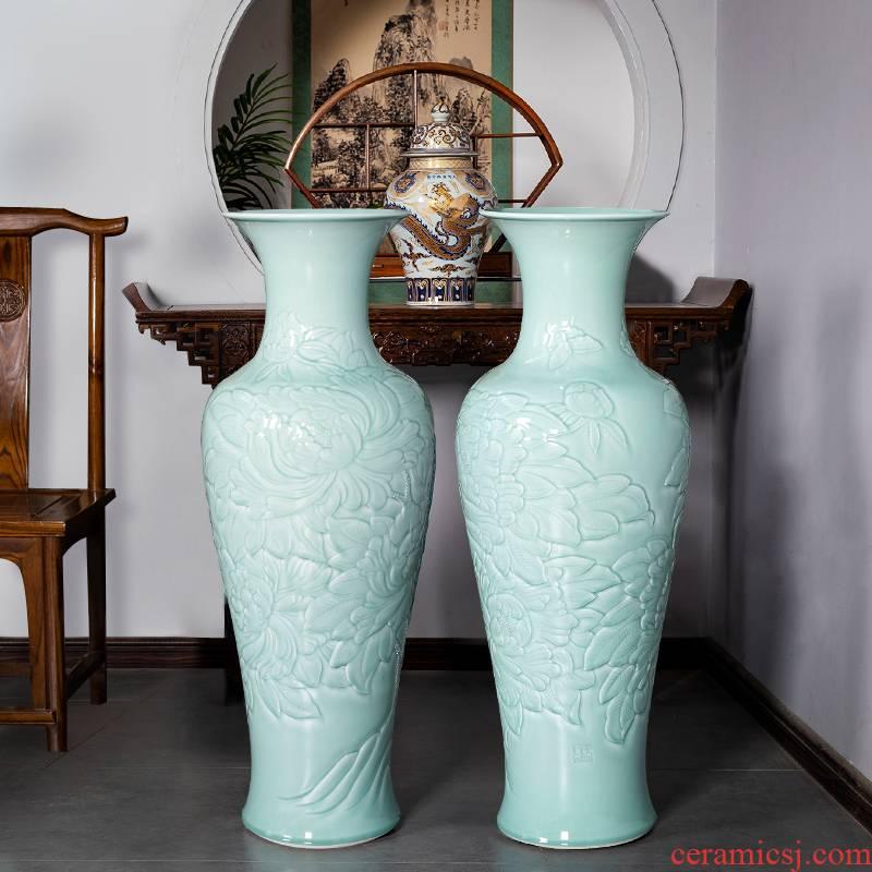 Jingdezhen ceramics shadow blue glaze hand - carved restoring ancient ways of large vases, flower arrangement home furnishing articles large living room