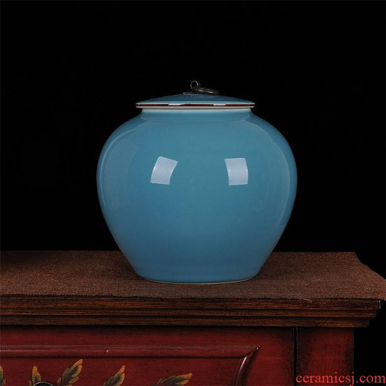 Jingdezhen ceramics ceramic blue storage tank caddy fixings home sitting room place hotel kitchen accessories