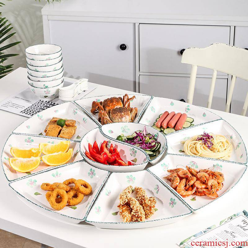 Ceramic platter tableware portfolio creative set of circular plate home New Year reunion seafood family meal round plate