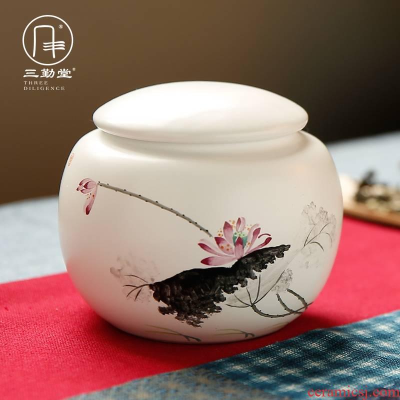 The three regular caddy fixings ceramic medium storage POTS of jingdezhen tea service manual hand - made seal pot home
