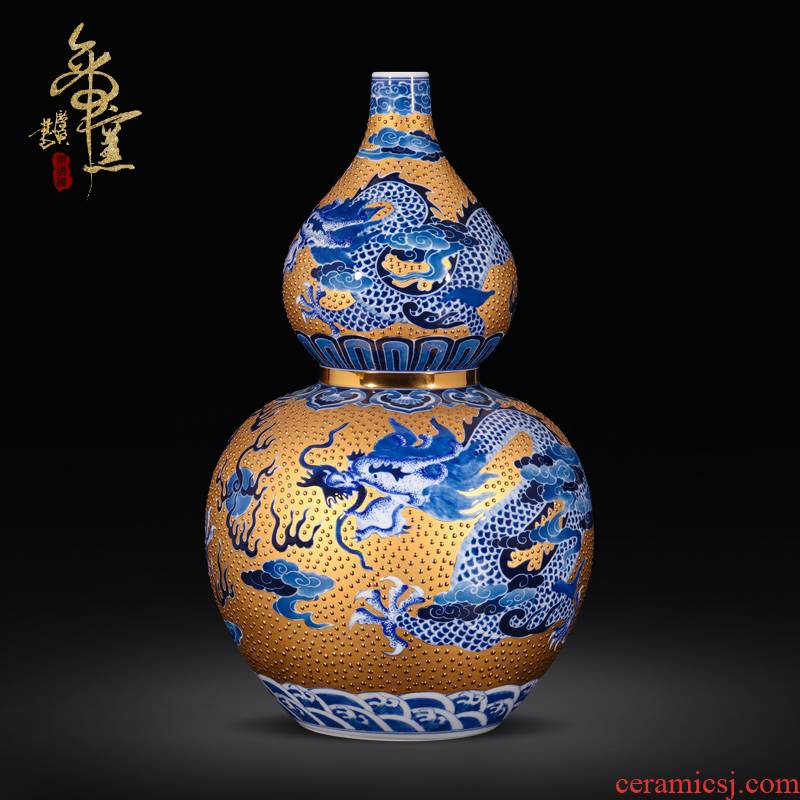 Emperor up jingdezhen ceramics antique hand - made with Jin Longwen gourd sitting room porch is antique Chinese style decoration furnishing articles