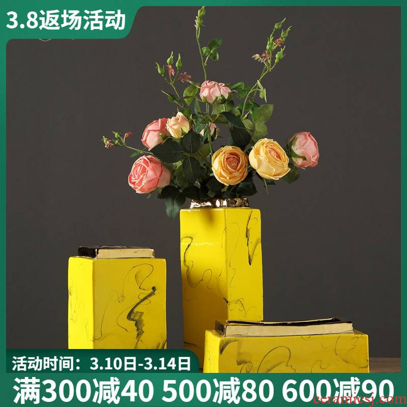 Modern Chinese zen ceramic vase of dry flower arranging furnishing articles contracted American living room TV cabinet table decorations