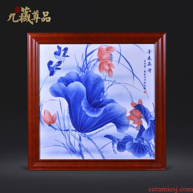 Jingdezhen ceramics Liu Shuwu hand - made lotus Chinese style household crafts decoration porcelain plate painting