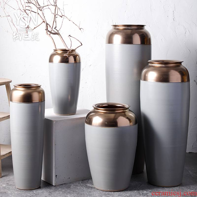 Contracted cement color sitting room hotel decoration ceramic bottle arranging flowers big vase landed Chinese modern furnishing articles in northern Europe