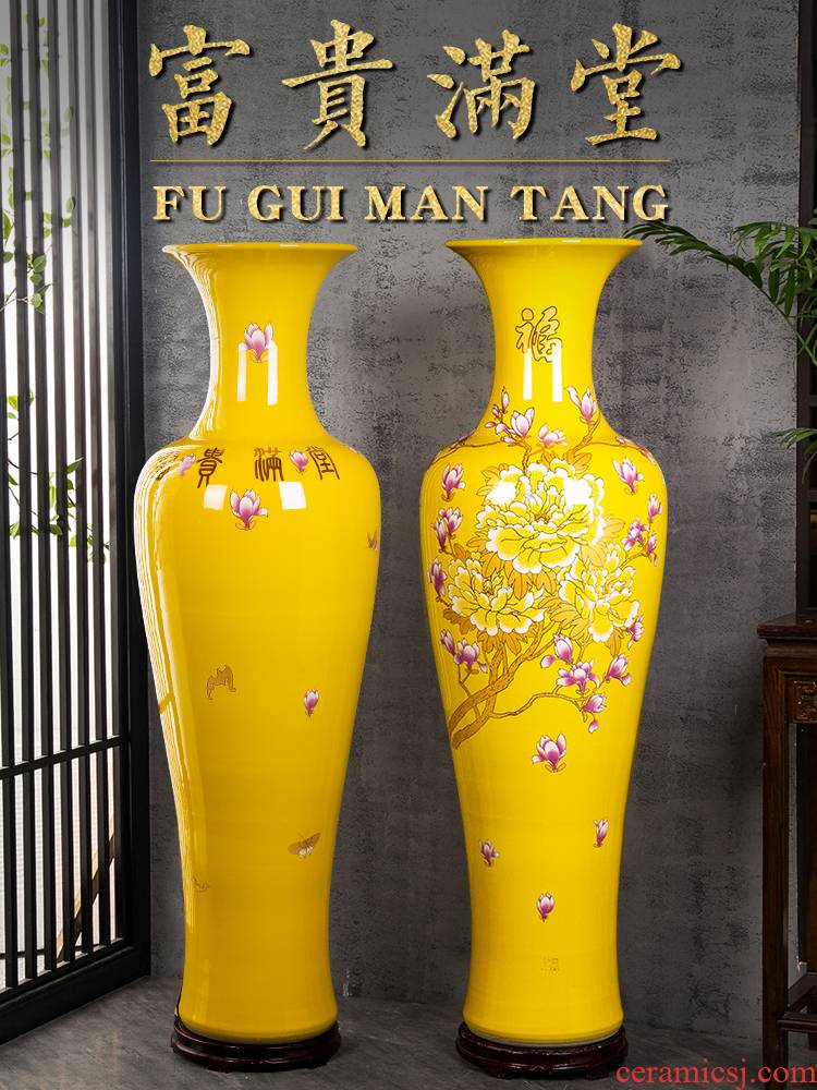 Jingdezhen ceramics China red high sitting room of large vases, TV ark, furnishing articles to heavy large ornament