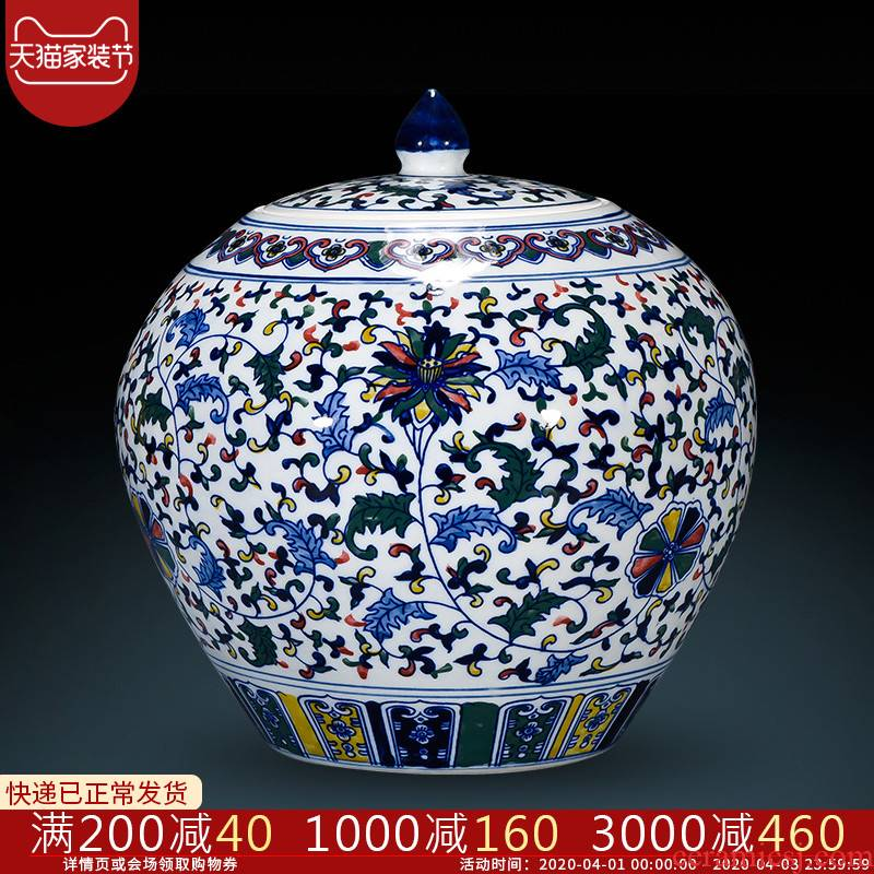 Jingdezhen porcelain vases, antique hand - made color of blue and white porcelain cover pot Chinese style classical sitting room adornment is placed