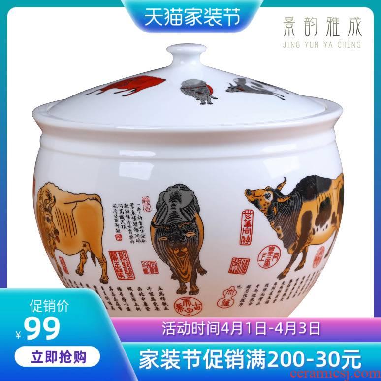 Jingdezhen ceramic five NiuTu storage canister to large household ceramic pot tea dry storage tanks