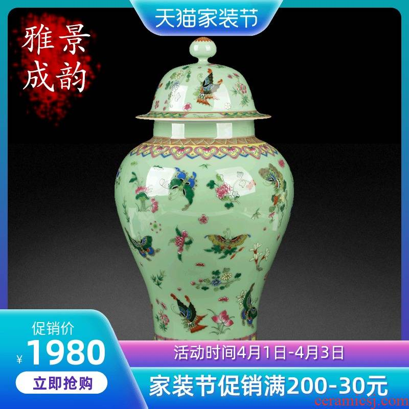 Jingdezhen ceramic retro classic butterfly general canned act the role ofing is tasted furnishing articles sitting room of the new Chinese style household porcelain