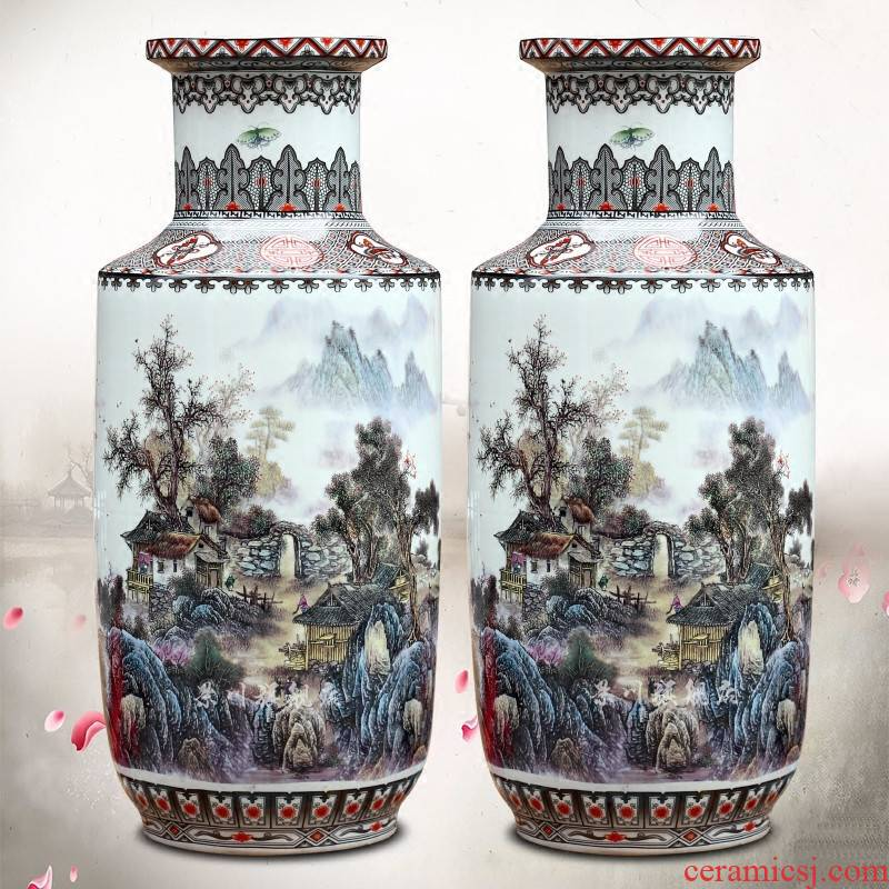 Jingdezhen ceramic color ink landscape painting misty rain jiangnan sitting room ground dry vase household furnishing articles opening gifts