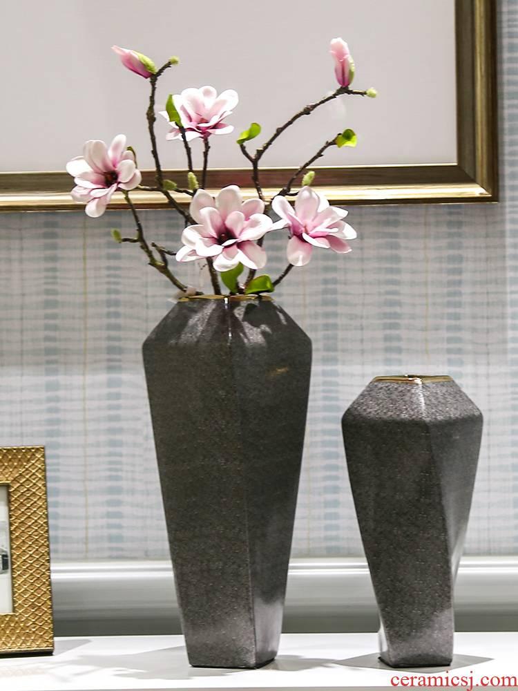 New Chinese style style decoration snakeskin grey marble green leaves an irregular art ceramic vase decoration