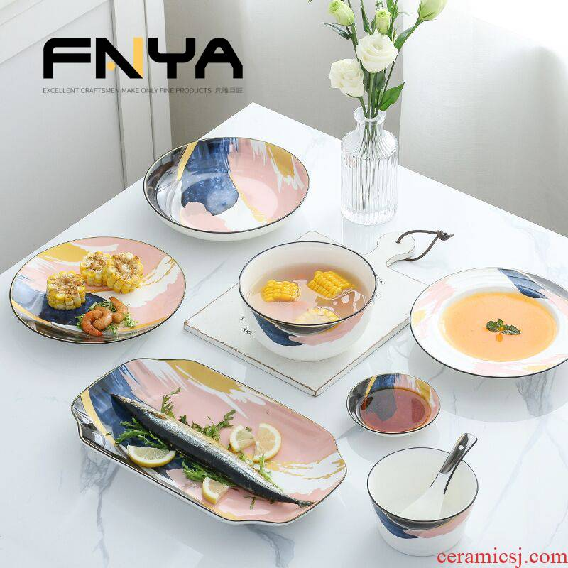 Combination dishes suit household ceramics Nordic one ins web celebrity dinner eat 2 sweethearts bowl chopsticks plate