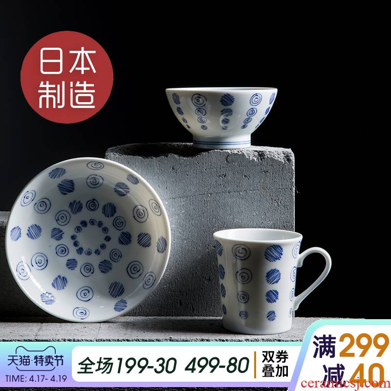 Japan imported Japanese contracted ceramic tableware suit bowl noodles in soup bowl of soup dish dish dish vortex