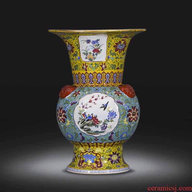 Jingdezhen ceramics hand - made colored enamel porcelain imitation qianlong vase flower drum home villa sitting room adornment is placed