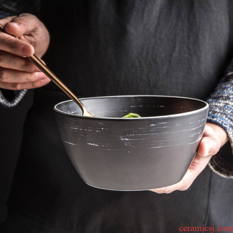 Japanese European pure color contracted household high - capacity ceramic bowl bowl restoring ancient ways rainbow such as bowl bowl of soup bowl bowl of tableware
