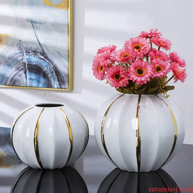 Jingdezhen ceramic vase furnishing articles Nordic dried flowers sitting room adornment flower arranging creative contracted light key-2 luxury table decoration