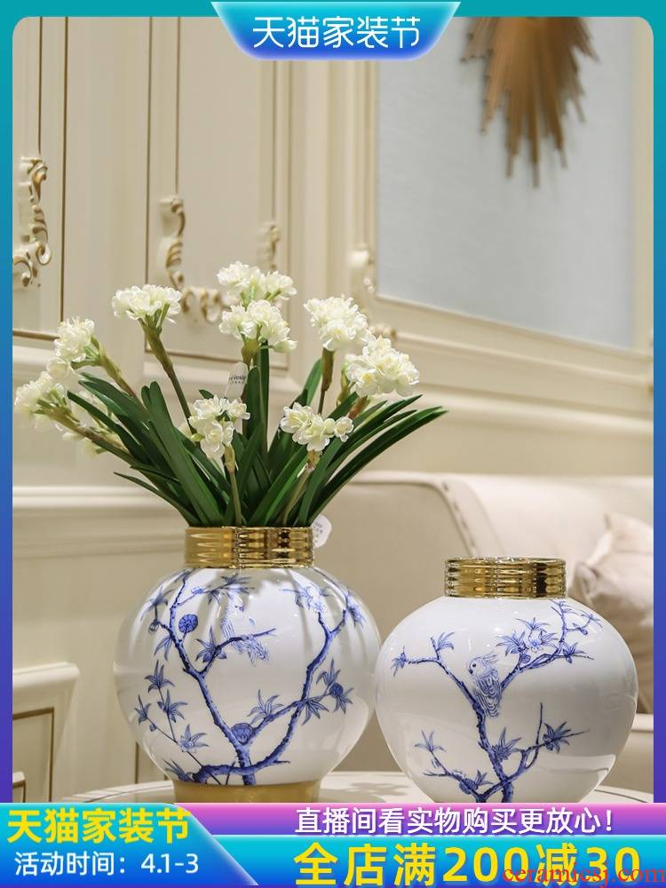 Jingdezhen ceramic porcelain simulation dried flower vase furnishing articles furnishing articles, the sitting room is the study of new Chinese style porch flower arranging decoration