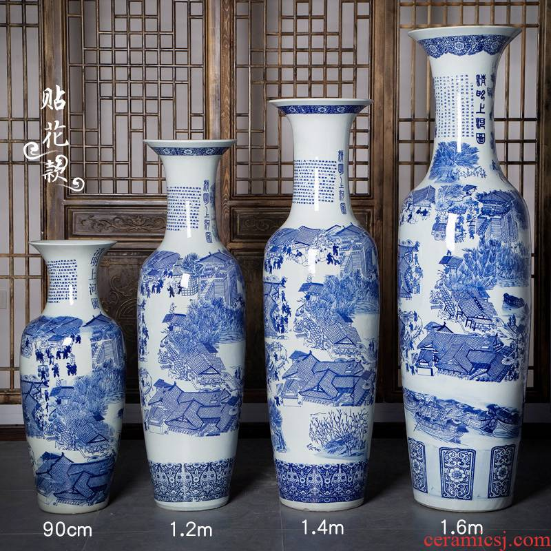 Blue and white porcelain of jingdezhen ceramics qingming scroll of large vase hotel decoration furnishing articles large living room