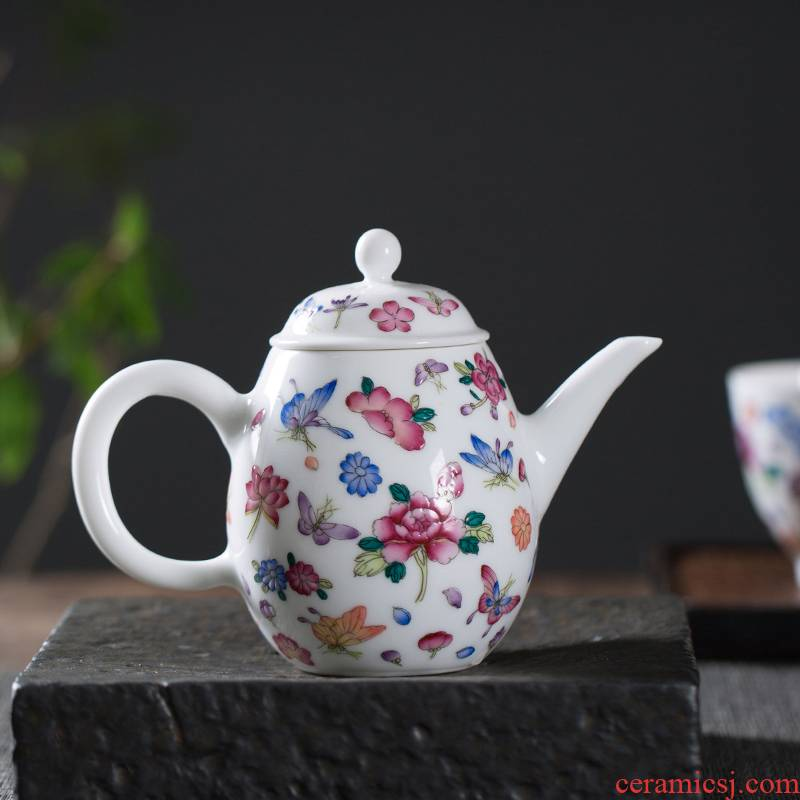 The Owl up with jingdezhen ceramic teapot colored enamel small checking tea kungfu single pot of filtering little teapot