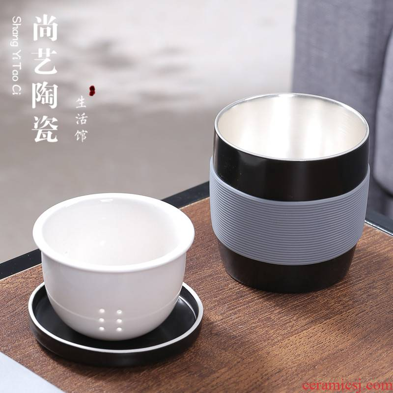 999 sterling silver ceramic cups with cover filter mercifully tea cup masters cup keller cup of office