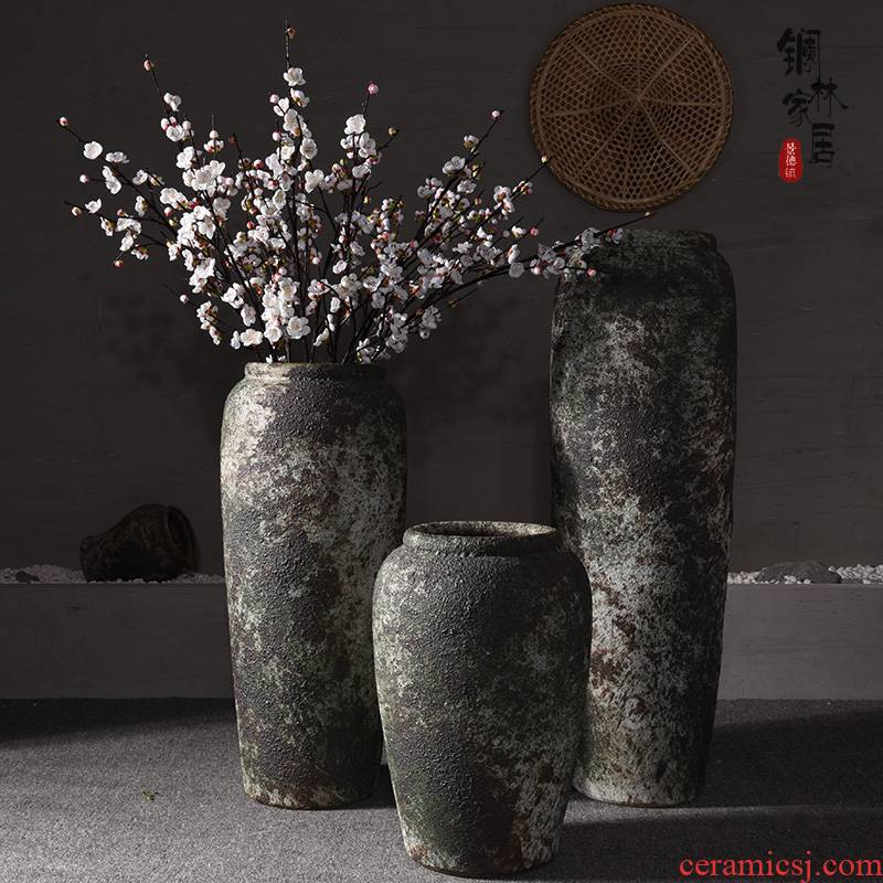 Jingdezhen ceramic sitting room ground to restore ancient ways the big vase hotel villa porch flower arranging flower art checking coarse pottery furnishing articles