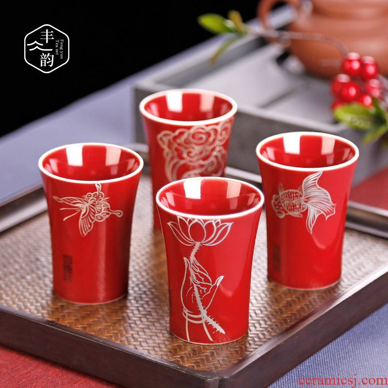 """Ji red silver hand - made ceramic tea cup masters cup """"women manual single kung fu small individual single cups of tea cups"""