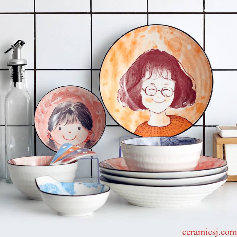 Japanese dishes suit 0 chopsticks the household ceramics creative cartoon family eat rice bowl spoon, jingdezhen tableware