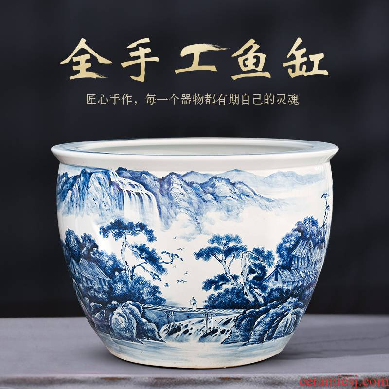 Jingdezhen ceramic goldfish bowl sitting room balcony office keep goldfish tank large yard is big fish bowl
