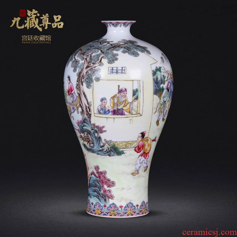 Jingdezhen ceramics twelve filial piety pastel hand - made vases mei bottles of furnishing articles flower arranging the modern home decoration decoration