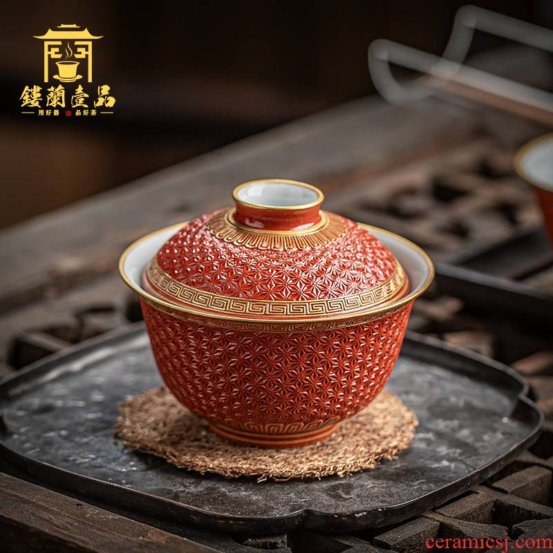 Jingdezhen ceramic old red glaze see hand - cut manual three bowl tea tureen single CPU kung fu suit