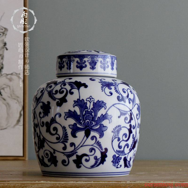 Rain tong home |/blue and white porcelain is the name plum flower drum marriage room multi - functional furnishing articles furnishing articles ornaments of jingdezhen ceramics