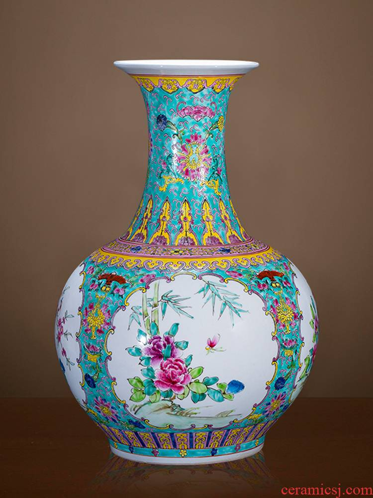 Jingdezhen ceramics hand - made archaize pastel of large vases, classical Chinese style living room Angle of what adornment furnishing articles