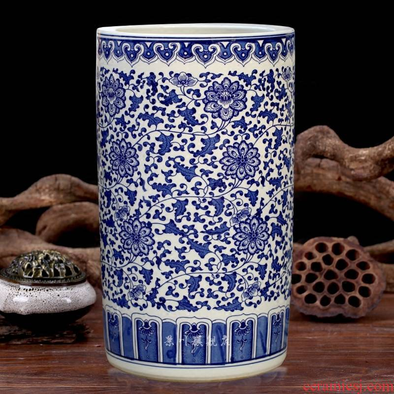 Jingdezhen ceramics big vase furnishing articles hand - made antique blue - and - white bound lotus flower of large quiver painting and calligraphy calligraphy and painting