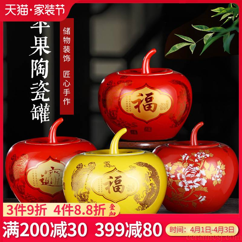 Jingdezhen ceramics China everyone red apples storage jar double happiness wedding gift sitting room adornment is placed