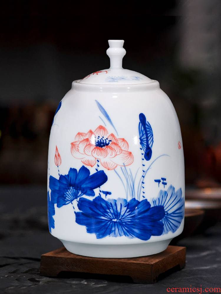 Jingdezhen ceramics hand - made tea pot sitting room of Chinese style household furnishing articles storage jar large ornament
