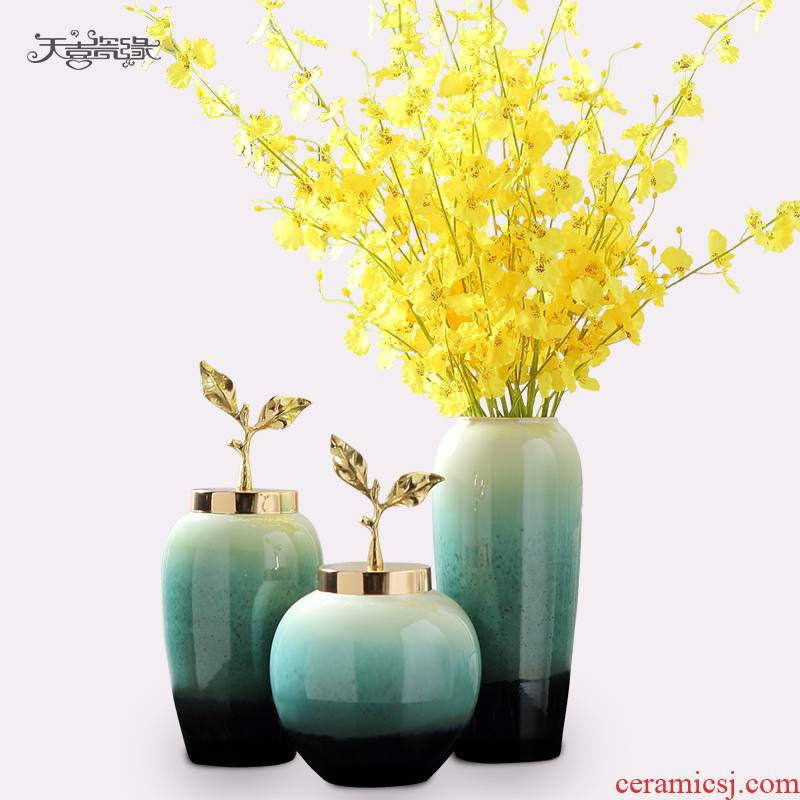 Jingdezhen European ceramic vases, wine decorations furnishing articles household act the role ofing is tasted, the sitting room TV cabinet dry flower decoration