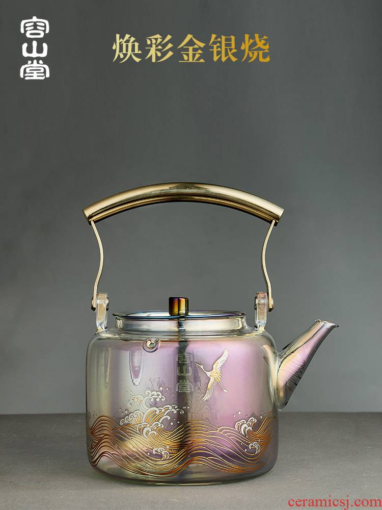 RongShan hall of gold and silver to burn as glass teapot tea kettle boil tea electric TaoLu tea stove high - capacity tea set