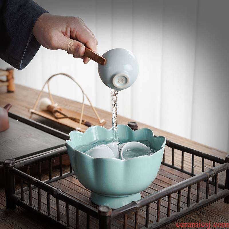 Brother your up up large - sized ceramic tea wash water, after the wash cup tea accessories lotus tea fruit bowl bowl bowl vessels