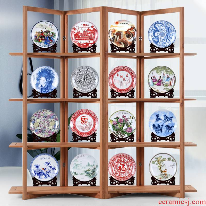 Make jingdezhen ceramics from the hanging sat dish dishes rich ancient frame, the decoration wine ark, adornment handicraft furnishing articles to the living room