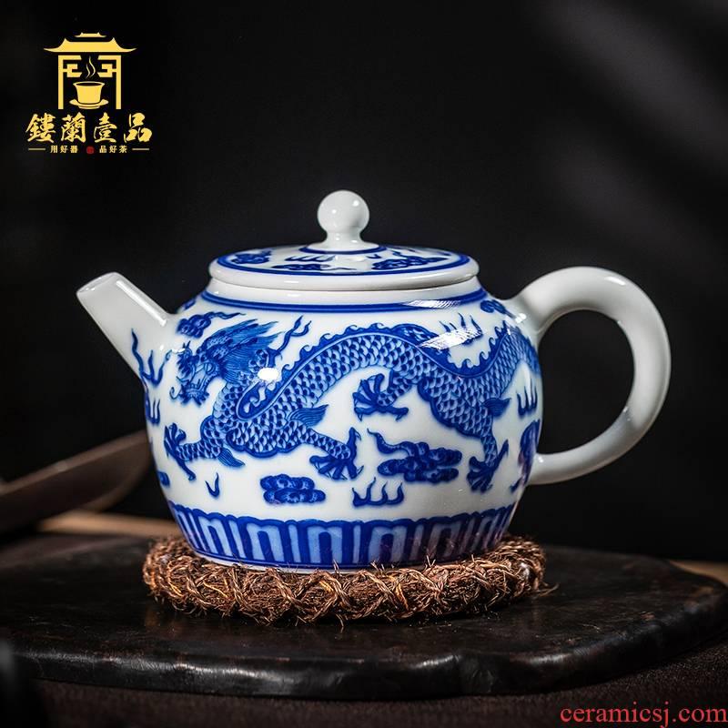 Jingdezhen ceramic hand - made porcelain maintain longfeng ewer kung fu tea set large single pot of big capacity of the teapot