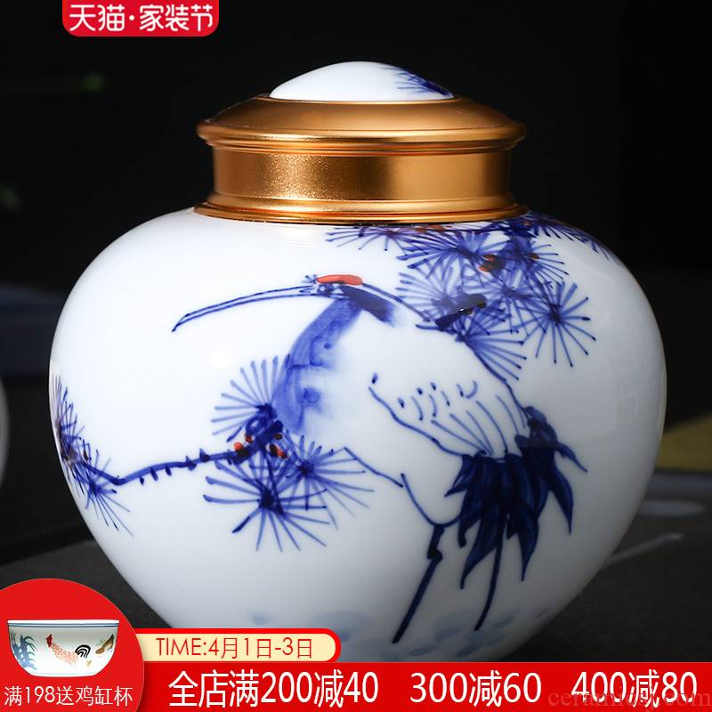 Jingdezhen ceramic tea pot hand - made seal pot store receives trumpet puer tea half jins of blue and white porcelain household