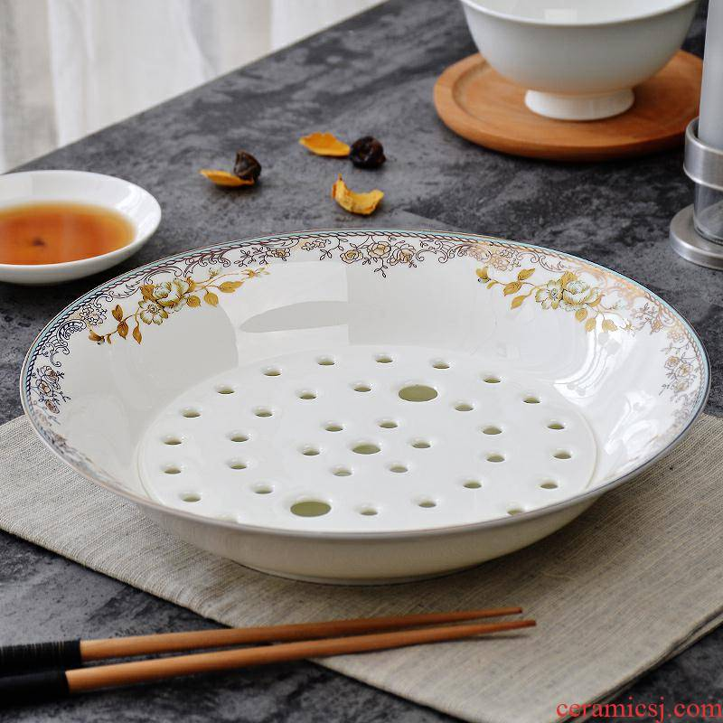 Jingdezhen ipads China tableware large double dumplings dumplings plate household drop dish ceramic dishes deep