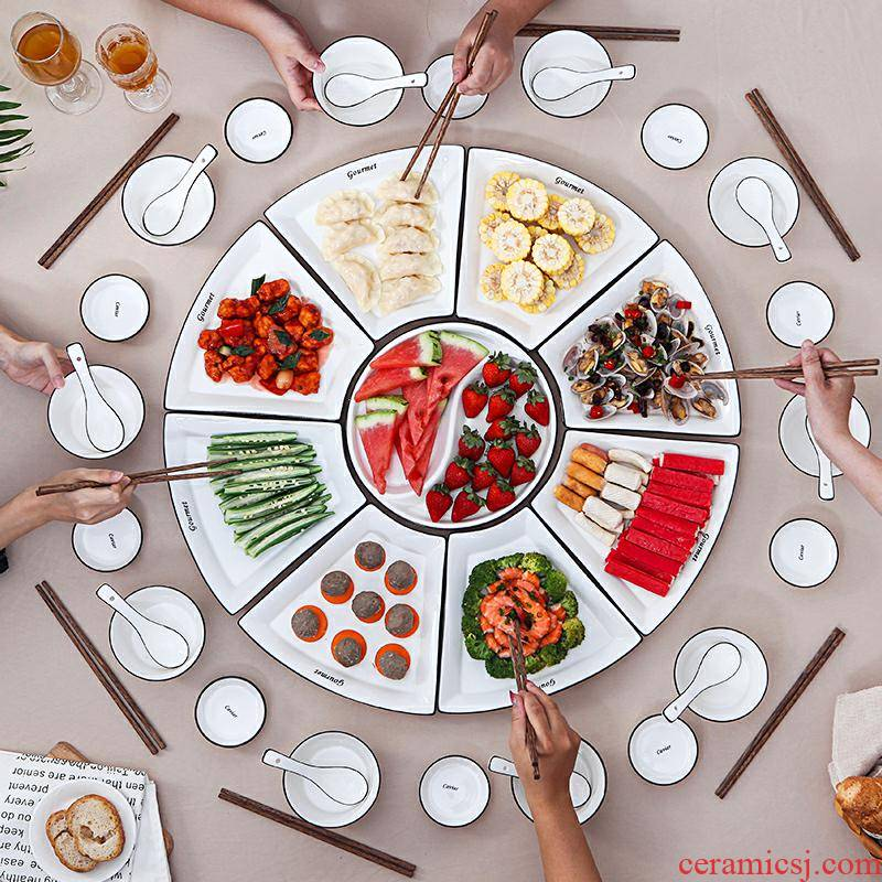 Ceramic platter combination of household put dish plate round round plate tableware suit family reunion dinner plate